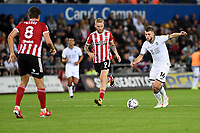 Brandon Cooper of Swansea City in action during the Sky Bet Championship match between Swansea City and Sheffield United at the Swansea.com Stadium in Swansea, Wales, UK. Saturday 14 August 2021