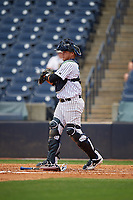 Tampa Tarpons catcher Jason Lopez (10) during a Florida State League game against the Lakeland Flying Tigers on April 7, 2019 at George M. Steinbrenner Field in Tampa, Florida.  Tampa defeated Lakeland 3-2.  (Mike Janes/Four Seam Images)