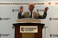 Jacques Daoust,  Minister of the Economy, Innovation and Exports Montreal, Canada speak before the Chambre de Commercer et Industrie au canada, September 14, 2015, in Montreal, Canada.<br /> <br /> Photo : Agence Quebec Presse