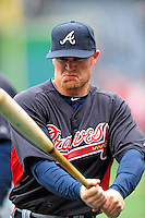 31 March 2011: Atlanta Braves infielder Brooks Conrad awaits his turn in the batting cage prior to the Opening Day festivities and game against the Washington Nationals at Nationals Park in Washington, District of Columbia. The Braves shut out the Nationals 2-0 to open the 2011 Major League Baseball season. Mandatory Credit: Ed Wolfstein Photo