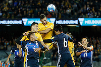October 11, 2016: MATTHEW SPIRANOVIC (6) of Australia heads the ball during a 3rd round Group B World Cup 2018 qualification match between Australia and Japan at the Docklands Stadium in Melbourne, Australia. Photo Sydney Low Please visit zumapress.com for editorial licensing. *This image is NOT FOR SALE via this web site.