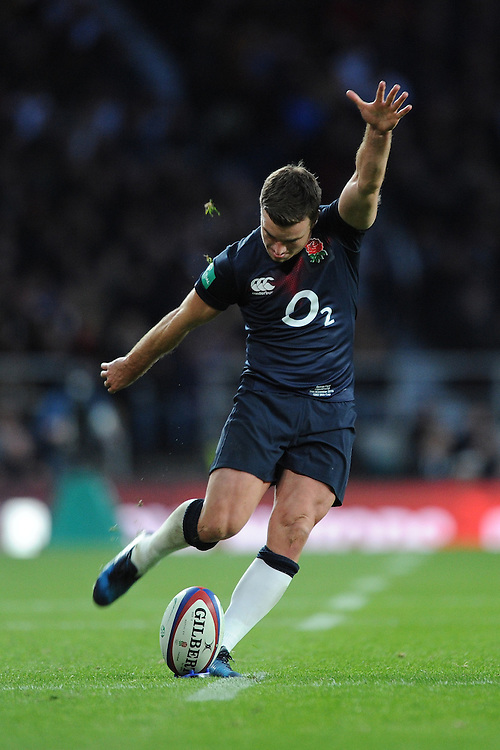 George Ford of England  takes a conversion attempt during the Old Mutual Wealth Series match between England and Fiji at Twickenham Stadium on Saturday 19th November 2016 (Photo by Rob Munro)