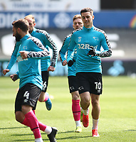 1st May 2021; Liberty Stadium, Swansea, Glamorgan, Wales; English Football League Championship Football, Swansea City versus Derby County; Tom Lawrence of Derby County during warm up