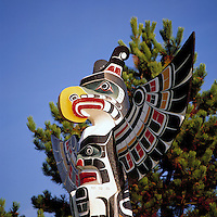 Kwakwaka'wakw (Kwakiutl) Totem Pole, Duncan, BC, Vancouver Island, British Columbia, Canada - Close Up Detail of Thunderbird.  Duncan is called City of Totem Poles.