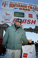 Thursday  March 15, 2007   ---- Nome, Alaska. Rick Swenson poses at his sled at the finish line in Nome after  finishing the Iditarod in 26th place.