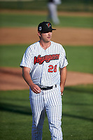 Great Falls Voyagers starting pitcher Jason Morgan (28) walks off the field between innings of a Pioneer League game against the Missoula Osprey at Centene Stadium at Legion Park on August 19, 2019 in Great Falls, Montana. Missoula defeated Great Falls 4-1 in the first game of a doubleheader. Games were moved from Missoula after Ogren Park at Allegiance Field, the Osprey's home field, was ruled unplayable. (Zachary Lucy/Four Seam Images)
