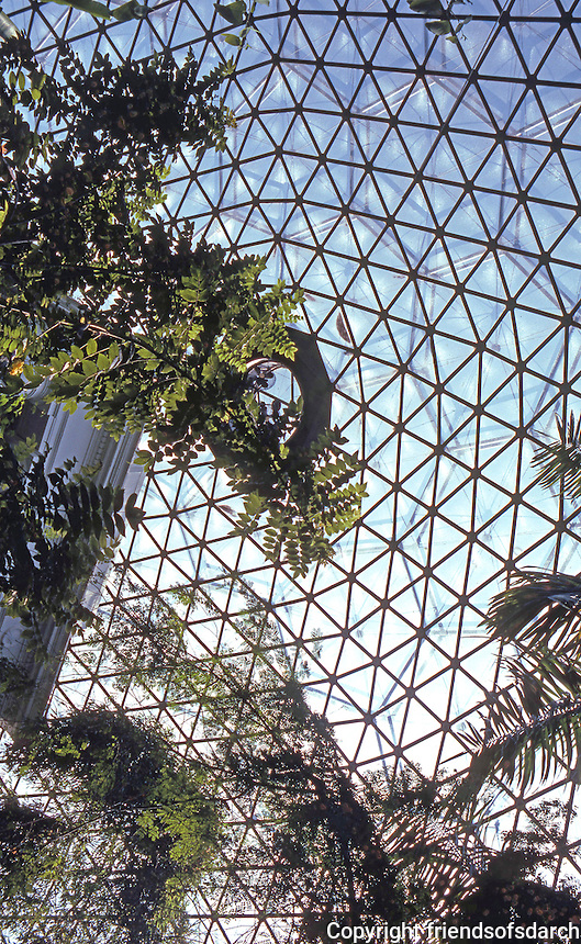 """St. Louis Climatron Interior. Murphy & Mackey under license to Bucky Fuller. Spans """"twelve different micro-climates to suit different sorts of plant biology..."""" Banham."""