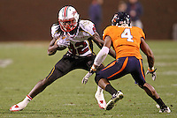 Nov 13, 2010; Charlottesville, VA, USA;  Maryland Terrapins wide receiver Torrey Smith (82) runs past Virginia Cavaliers safety Rodney McLeod (4) during the 2nd half of the game at Scott Stadium. Maryland won 42-23. Mandatory Credit: Andrew Shurtleff
