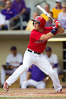 Stony Brook Seawolves outfielder Steve Goldstein #16 at bat during the continuation of their suspended NCAA Super Regional baseball game against LSU on June 9, 2012 at Alex Box Stadium in Baton Rouge, Louisiana. LSU defeated Stony Brook 5-4 in 12 innings. (Andrew Woolley/Four Seam Images)