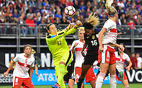 Minneapolis, MN - October 23, 2016: The U.S. Women's National team go up 4-1 over Switzerland with Crystal Dunn adding a goal during an international friendly game at U.S. Bank Stadium.