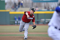 Nashville Sounds starting pitcher Jimmy Nelson #43 throws a pitch against the Omaha Storm Chasers at Werner Park on April 5, 2014 in Omaha, Nebraska.  The Sounds defeated the Storm Chaser 2-1.  (Dennis Hubbard/Four Seam Images)