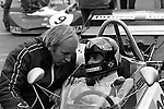 "John Surtees chatting with Carlos Pace on the grid at Thruxton in 1973.<br /> <br /> <br /> Esso Uniflo B.A.R.C. ""200"" 1973	<br /> Jochen Rindt Memorial Trophy	<br /> European Championship for F2 Drivers, Round 3"