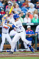 Florida Gators designated hitter JJ Schwarz (22) at bat against the Miami Hurricanes in the NCAA College World Series on June 13, 2015 at TD Ameritrade Park in Omaha, Nebraska. Florida defeated Miami 15-3. (Andrew Woolley/Four Seam Images)