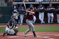 Matt Higgins (6) of the Bellarmine Knights at bat against the Liberty Flames at Liberty Baseball Stadium on March 9, 2021 in Lynchburg, VA. (Brian Westerholt/Four Seam Images)