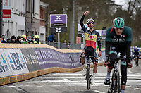 Belgian National Champion Dries De Bondt (BEL/Alpecin-Fenix) happy for his teammate Jasper Philipsen's win when crossing the finish line<br /> <br /> 109th Scheldeprijs 2021 (ME/1.Pro)<br /> 1 day race from Terneuzen (NED) to Schoten (BEL): 194km<br /> <br /> ©kramon