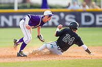 Chris Clare (9) of the High Point Panthers applies the tag to Colin Hering (24) of the Coastal Carolina Chanticleers as he attempts to steal second base at Willard Stadium on March 15, 2014 in High Point, North Carolina.  The Chanticleers defeated the Panthers 1-0 in the first game of a double-header.  (Brian Westerholt/Four Seam Images)