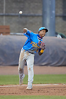 Myrtle Beach Pelicans third baseman Pablo Aliendo makes a throw to first base against the Lynchburg Hillcats at Bank of the James Stadium on May 22, 2021 in Lynchburg, Virginia. (Brian Westerholt/Four Seam Images)