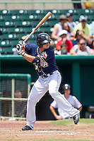 San Antonio Missions designated hitter Hunter Renfroe (10) at bat during the Texas League baseball game against the Midland RockHounds on June 28, 2015 at Nelson Wolff Stadium in San Antonio, Texas. The Missions defeated the RockHounds 7-2. (Andrew Woolley/Four Seam Images)