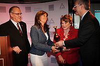 Montreal (Qc) CANADA - May 7  2012 File Photo - <br /> TV screenwriterand producer  Fabienne Larouche honored by la Fondation Emergence for  her work against homophobia (she integrate gay caracther into most of her work) and was given the  received the 10th ''Prix lutte contre líhomophobie '' by<br /> Laurent McCutcheon (L), Janette Bertrand (M-R)and   Jean-Marc Fournier, Quebec Justice Minister (R)<br /> <br /> <br /> Photo : Pierre Roussel