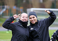 Megane Vos (20 Charleroi) and Yasaman Farmani (6 Charleroi) pose before a female soccer game between FC Femina White Star Woluwe and Sporting Charleroi on the 10 th matchday of the 2020 - 2021 season of Belgian Scooore Womens Super League , Saturday 19 th of December 2020  in Woluwe , Belgium . PHOTO SPORTPIX.BE | SPP | SEVIL OKTEM