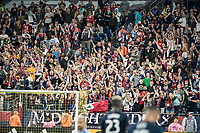 FOXBOROUGH, MA - SEPTEMBER 29: New Enlgand fans cheer their team's goal during a game between New York City FC and New England Revolution at Gillettes Stadium on September 29, 2019 in Foxborough, Massachusetts.