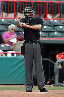 Home plate umpire Adam Hamari makes a call during a game at Jerry Uht Park in Erie, Pennsylvania;  June 24, 2010.   Photo By Mike Janes/Four Seam Images