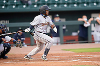 First baseman Alexander Ovalles (26) of the Charleston RiverDogs in a game against the Columbia Fireflies on Tuesday, May 11, 2021, at Segra Park in Columbia, South Carolina. The catcher is Omar Hernandez (6). (Tom Priddy/Four Seam Images)