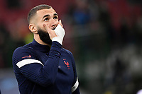Karim Benzema of France reacts during the warm up prior to the Uefa Nations League final football match between Spain and France at San Siro stadium in Milano (Italy), October 10th, 2021. Photo Andrea Staccioli / Insidefoto