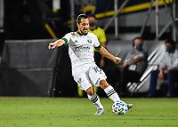 LAKE BUENA VISTA, FL - AUGUST 01: Sebastián Blanco #10 of the Portland Timbers passes the ball during a game between Portland Timbers and New York City FC at ESPN Wide World of Sports on August 01, 2020 in Lake Buena Vista, Florida.