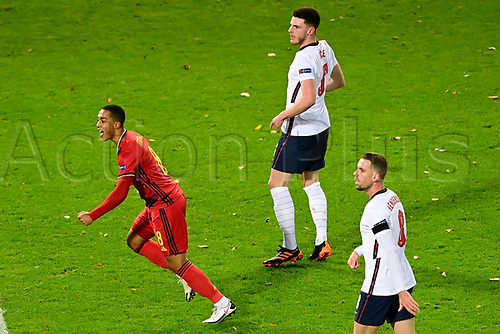 15th November 2020; Leuven, Belgium;  Youri Tielemans midfielder of Belgium celebrates scoring his goal during the UEFA Nations League match group stage final tournament - League A - Group 2 between Belgium and England