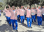 The Southern Methodist Mustangs band joins in the homecoming parade before the game between the Memphis Tigers and the Southern Methodist Mustangs at the Gerald J. Ford Stadium in Dallas, Texas. SMU defeats Memphis 44 to 13.
