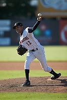Kannapolis Intimidators relief pitcher Kevin Escorcia (12) delivers a pitch to the plate against the Greensboro Grasshoppers at Kannapolis Intimidators Stadium on August 5, 2018 in Kannapolis, North Carolina. The Intimidators defeated the Grasshoppers 9-0 in game two of a double-header.  (Brian Westerholt/Four Seam Images)