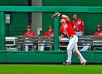 24 May 2009: Washington Nationals' right fielder Austin Kearns pulls in a fly ball during a game against the Baltimore Orioles at Nationals Park in Washington, DC. The Nationals rallied to defeat the Orioles 8-5 and salvage a win in their interleague series. Mandatory Credit: Ed Wolfstein Photo