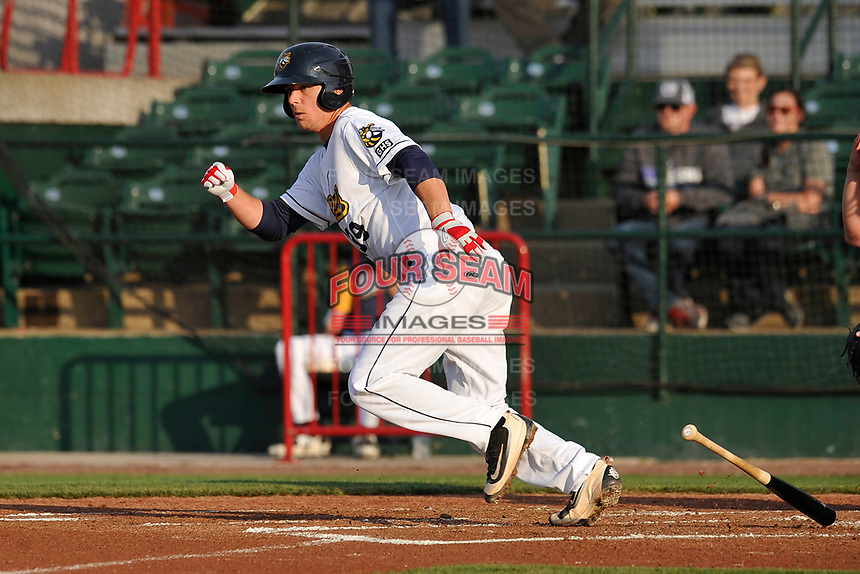 Burlington Bees catcher Jack Kruger (39) heads toward first base during a game against the West Michigan Whitecaps at Community Field on May 11, 2017 in Burlington, Iowa.  The Whitecaps won 10-3.  (Dennis Hubbard/Four Seam Images)