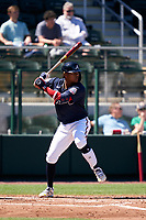 Atlanta Braves Cristian Pache (14) bats during a Major League Spring Training game against the Boston Red Sox on March 7, 2021 at CoolToday Park in North Port, Florida.  (Mike Janes/Four Seam Images)