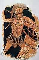 Greek Arms:  Hoplite, c. 460 B.C, Wearing muscled cuirass (body armor), Thracian helmut.