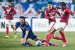 Guangzhou Midfielder Paulinho Maciel (R) fights for the ball with Suwon Forward Park Gidong (L) during the AFC Champions League 2017 Group G match Between Suwon Samsung Bluewings (KOR) vs Guangzhou Evergrande FC (CHN) at the Suwon World Cup Stadium on 01 March 2017 in Suwon, South Korea. Photo by Victor Fraile / Power Sport Images
