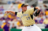 Relief pitcher Chris Willson #19 of the Wake Forest Demon Deacons in action against the LSU Tigers at Alex Box Stadium on February 20, 2011 in Baton Rouge, Louisiana.  The Tigers defeated the Demon Deacons 9-1.  Photo by Brian Westerholt / Four Seam Images