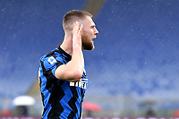 Milan Skriniar of FC Internazionale celebrates after scoring the goal of 1-1 during the Serie A football match between AS Roma and FC Internazionale at Olimpico stadium in Roma (Italy), January 10th, 2021. Photo Andrea Staccioli / Insidefoto