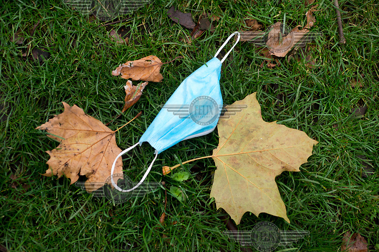 A discarded face mask lies among autumn leaves on Dalston Lane near the Narrow Way, LB Hackney.