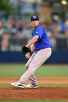 Midland RockHounds pitcher Ryan Dull (11) delivers a pitch during a game against the Tulsa Drillers on May 30, 2014 at ONEOK Field in Tulsa, Oklahoma.  Tulsa defeated Midland 7-1.  (Mike Janes/Four Seam Images)