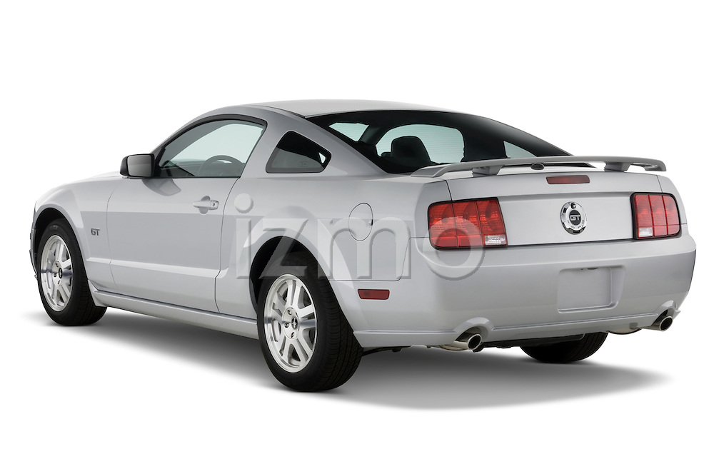 Rear three quarter driver side of a 2007 Ford Mustang GT Coupe