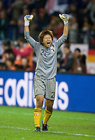 Ayumi Kaihori (21) of Japan celebrates making a save during penalty kicks during the final of the FIFA Women's World Cup at FIFA Women's World Cup Stadium in Frankfurt Germany.  Japan won the FIFA Women's World Cup on penalty kicks after tying the United States, 2-2, in extra time.