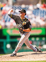 25 July 2013: Pittsburgh Pirates pitcher Vin Mazzaro on the mound against the Washington Nationals at Nationals Park in Washington, DC. The Nationals salvaged the last game of their series, winning 9-7 ending their 6-game losing streak. Mandatory Credit: Ed Wolfstein Photo *** RAW (NEF) Image File Available ***