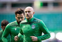 15th November 2020; Easter Road, Edinburgh, Scotland; Scottish League Cup Football, Hibernian versus Dundee FC; David Gray of Hibernian during the warm up before the match