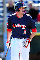Danny Bethea (2) of the Portland Sea Dogs during a game versus the Reading Fightin Phils at Hadlock Field in Portland, Maine on May 23, 2015.  (Ken Babbitt/Four Seam Images)