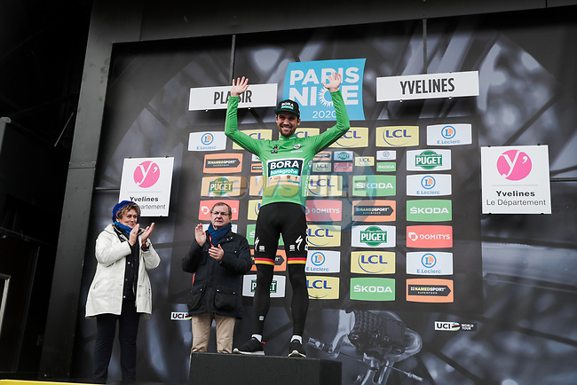 German Champion Maximilian Schachmann (GER) Bora-Hansgrohe wins Stage 1 and also takes the first points Green Jersey of the 78th edition of Paris-Nice 2020, running 154km from Plaisir to Plaisir, France. 8th March 2020.<br /> Picture: ASO/Fabien Boukla | Cyclefile<br /> All photos usage must carry mandatory copyright credit (© Cyclefile | ASO/Fabien Boukla)