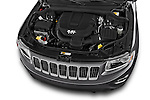 Car stock 2015 Jeep Grand Cherokee Laredo 5 Door SUV engine high angle detail view