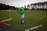 Guernsey 0 Corinthian-Casuals 1, 10/09/2017. Footes Lane, Isthmian League Division One. Home mascot Roary the Lion tries to enthuse the crowd before kick-off as Guernsey take on Corinthian-Casuals in a Isthmian League Division One South match at Footes Lane. Formed in 2011, Guernsey FC are a community club located in St. Peter Port on the island of Guernsey and were promoted to the Isthmian League Division One South in 2013. The visitors from Kingston upon Thames won the fixture by 1-0, watched by a crowd of 614 spectators. Photo by Colin McPherson.