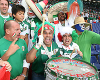 Mexican fans get pumped up before the game. Mexico and Angola played to a 0-0 tie in their FIFA World Cup Group D match at FIFA World Cup Stadium, Hanover, Germany, June 16, 2006.